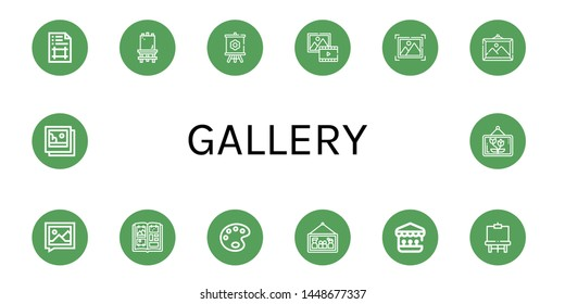 Set of gallery icons such as Artboard, Canvas, Picture, Photo album, Paint palette, Shooting gallery, Easel, Pictures , gallery