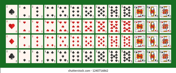 Set of Gambling Cards / Full Deck of Gambling Cards on Green background - Vector Illustration