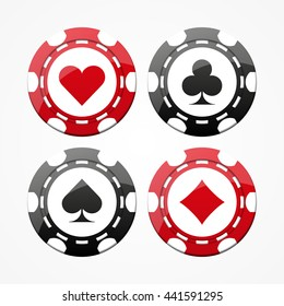 Set of gambling chips, isolated on white