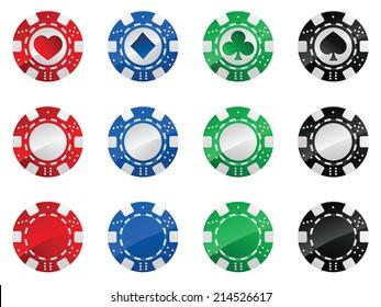 Set of gambling poker chips isolated on white background