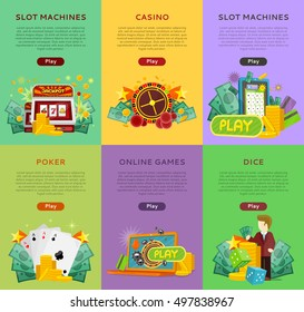 Set of gambling vector banners. Flat style. Poker, slot machines, dice, online games vertical illustrations with cards, roulette, money for virtual gamble and entertainments services web page design