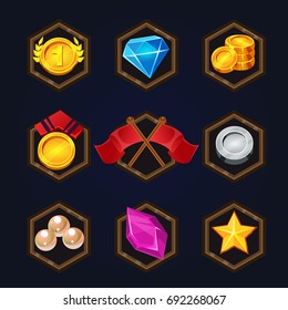 Set of game 2d awards icons for casual, mobile or social games and apps. Customizable and resizeable vector illustration.