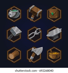 Set of game 2d craft icons for casual, mobile or social games and apps. Customizable and resizeable vector illustration.