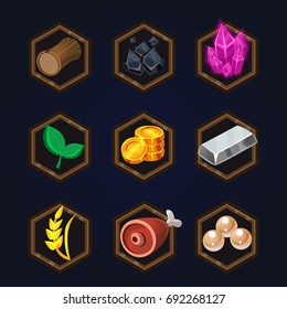 Set of game 2d icons for casual, mobile or social games and apps. Customizable and resizeable vector illustration.