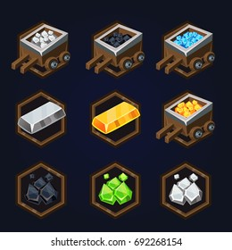 Set of game 2d resources icons for casual, mobile or social games and apps. Customizable and resizeable vector illustration.
