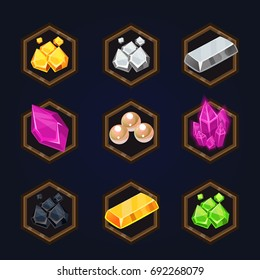 Set of game 2d treasure icons for casual, mobile or social games and apps. Customizable and resizeable vector illustration.