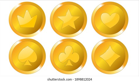 Set of game coins isolated on white background, game interface, gold vector elements, cartoon style