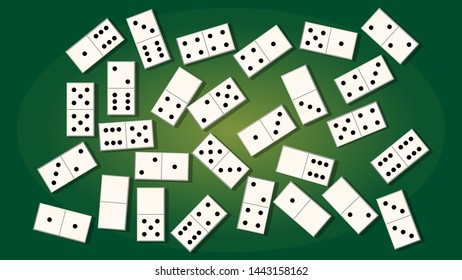 set for the game of dominoes on a green background. art wallpaper. vector