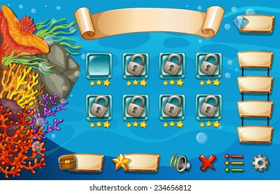Set of game elements and icons with underwater theme