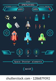 Set of game elements for space shooter
