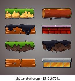 Set of game elements. Vector platform for mobile game