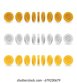 Set of game icons of silver, gold and bronze coins isolated on white background. Coin rotation steps vector illustration. Game asset elements collection.