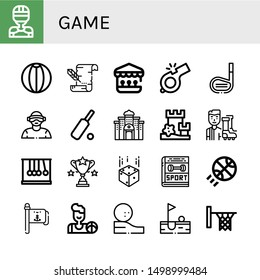 Set of game icons such as Hockey player, Beach ball, Parchment, Shooting gallery, Whistle, Golf stick, Virtual reality, Cricket, Casino, Sand castle, Football player, Newtons cradle , game