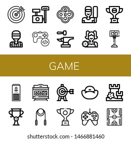 Set of game icons such as Target, Referee, Scratching post, Game, Poker, Anvil, Cricket, Cheerleader, Trophy, Basketball, Sticks, Slot machine, Skipping rope, Bean bag , game