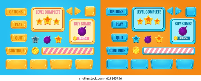 Set of game interface (buttons, progress bar, resource icon and fields for game). Vector illustration.