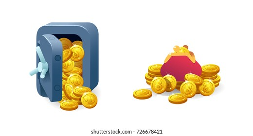 Set for game interface. Vector illustration. Treasure of gold coins on transparent background.Concept safe, purse.Icons cartoon for web.Metal bank safe. Casino. Dollars in box deposit and moneybag.