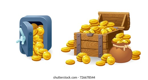 Set for game interface. Vector illustration. Treasure of gold coins on transparent background. Safe.Icons cartoon coins for web. Metal bank safe. Casino. Dollars in box deposit and moneybag.