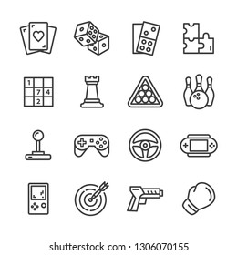 Set of game lines icons set