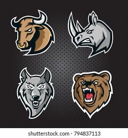 Set  game logos animal heads. Bear , Bull, Wolf, Rhino on a dark background. Premium quality wild animal emblem t-shirt tee print illustration.