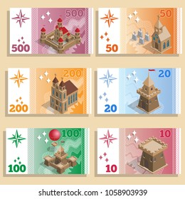 A set of game money with the image of architectural structures. Isometric. Vector illustration.