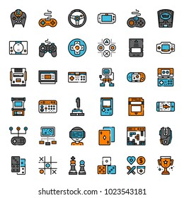 set of game technology filled outline icon, isolated on white background