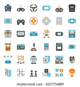 set of game technology flat icon, isolated on white background