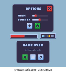 Set of game user interface. Template of button, pop-up window, progress bar, hud, gems, coins. Options pop-up and game over pop-up.Ready for use.