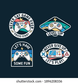 Set of gamepad badges, patches, emblems, badges and labels.