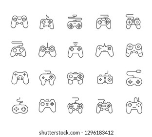 Set of gamepad Related Vector Line Icons. Contains such Icons as computer games, virtual reality, game console, eSports and etc. - Vector
