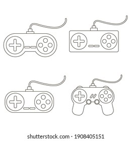 set of gamepads from video games, vector illustration