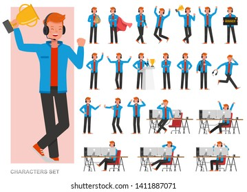 Set of The gamer man character vector design. Presentation in various action with emotions, running, standing and walking.