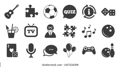 Set of Games, Entertainment and Services icons. Information, chat bubble icon. Football, Bowling and Puzzle signs. Casino, Carnival and Music symbols. Quality set. Vector