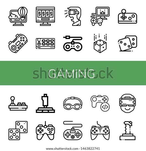 Set Gaming Icons Such Virtual Gamepad Stock Vector (Royalty