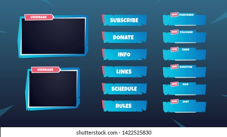 Set of gaming panels, facecam frames and overlays for live streamers. 16:9 and 4:3 screen resolution.  Inspired by battle royale videogames. Editable colors.