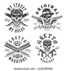 Set of gangster emblems in monochrome style. Vector illustration