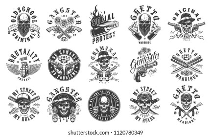 Set of gangster emblems in monochrome style. Vector illustration