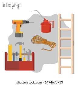 Set of garage utensils and appliances. Drill, ladder, rope, oilcan and toolbox on the gray background. Flat vector illustration.