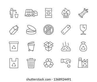 Set of Garbage Line Icons. Recycle, Waste Factory, Trash Truck, Toxic Container, Tin Can, Battery Recycling, Broken Glass, Plastic Bag and more. Pack of 48x48 Pixel Icons