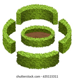 Set of garden bushes.  Isolated vector bushes can be used to construct topiary garden scene.  Vector illustration