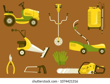 Set of garden equipment for grass mowing. Color vector icons illustration. Lawn mower and other agricultural and farm machinery