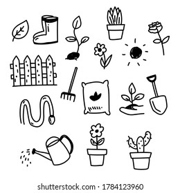 Set of garden and flower related doodle illustration such as shovel, watering can and more