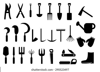 Set of Garden hand tools in silhouette flat icon style for Outdoor gardening and lawn care. Isolated object on white background