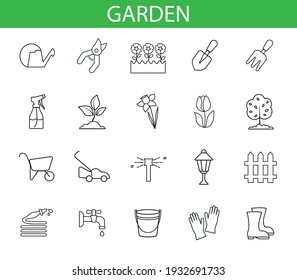 set with garden icons vector simple thin line drawing abstract  icon isolated black on white background