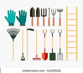 Set of garden tools and gardening items. Vector illustration flat design.