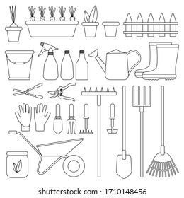 Set of garden tools on an isolated white background. Tools for farming. Flat design illustrations of objects without fill. Watering can, shovel, bucket, gloves, etc. Vector and stock illustration.