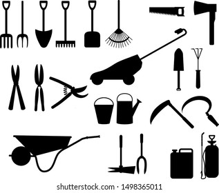 set of garden tools silhouettes, vector isolated