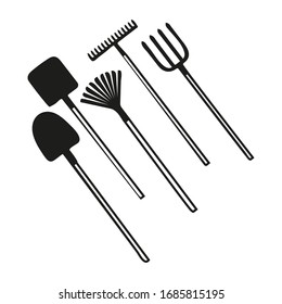 Set of garden tools: spade, rakes, pitchforks, shovels. Collection of agriculture instruments isolated on white background. Work with soil farm equipment. Vector illustration in doodle style