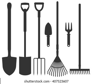 Set of garden tools: spade, rakes, pitchforks, shovels. Vector illustration. Collection of agriculture instruments contours isolated on white background. Work with soil farm equipment.