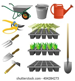 Set of garden tools. Vector illustration of various gardening tools and items.