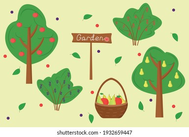 """Set of garden trees and shrubs. Fruit trees in the garden: apples and pears. Harvest season (summer, autumn). Fruit basket. Shrubs: black and red currants. Sign """"Garden"""". Flat vector illustration"""